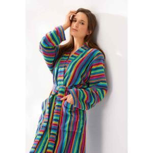Lång färgglad morgonrock för dam av frotté. Kimono badrock 7048 84 från Cawö.