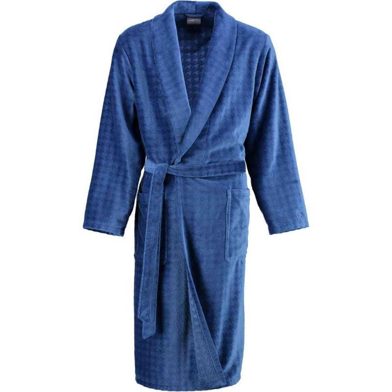 Cawö Luxury Home lång blå velour morgonrock herr med sjalkrage