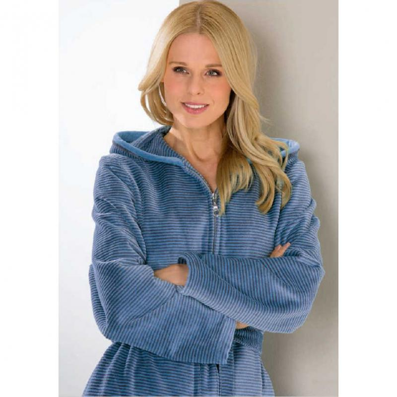 Cawö morgonrock dam lång blå badrock med huva & dragkedja velour