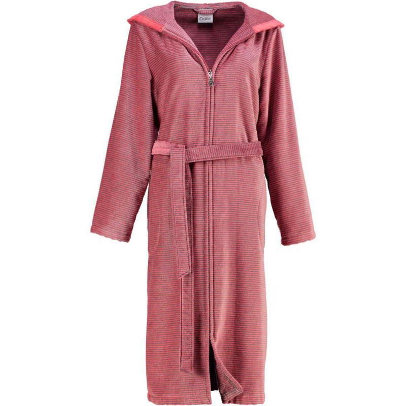 Cawö morgonrock dam lång röd badrock med huva & dragkedja velour
