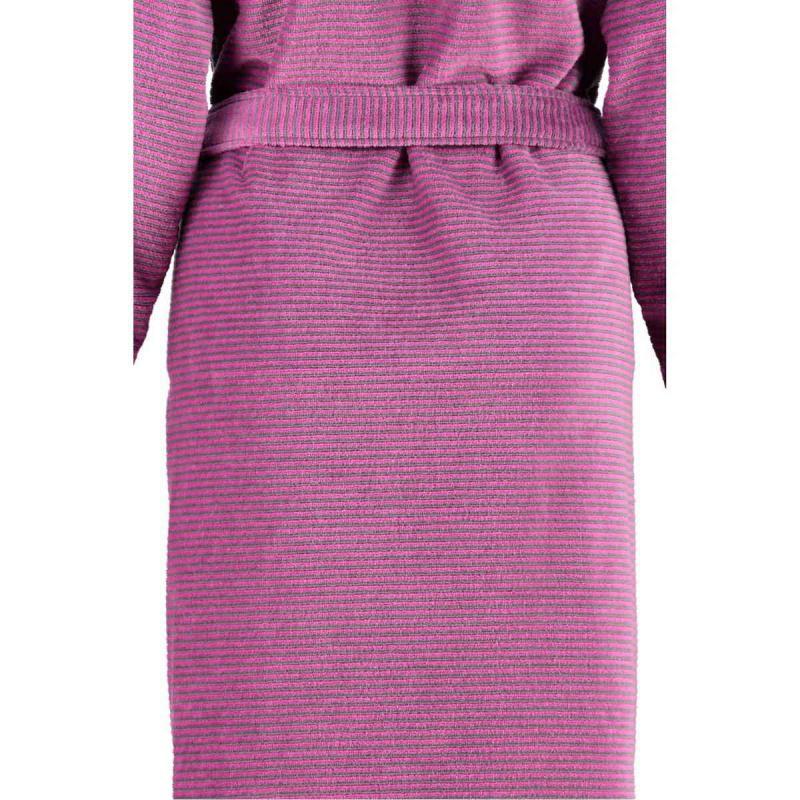 Cawö morgonrock dam lång rosa badrock med huva & dragkedja velour
