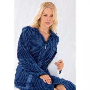 Cawö morgonrock dam lång tunn blå badrock med huva & dragkedja 4337-11