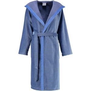 Cawö morgonrock dam lång blå badrock med huva velour 6425-17