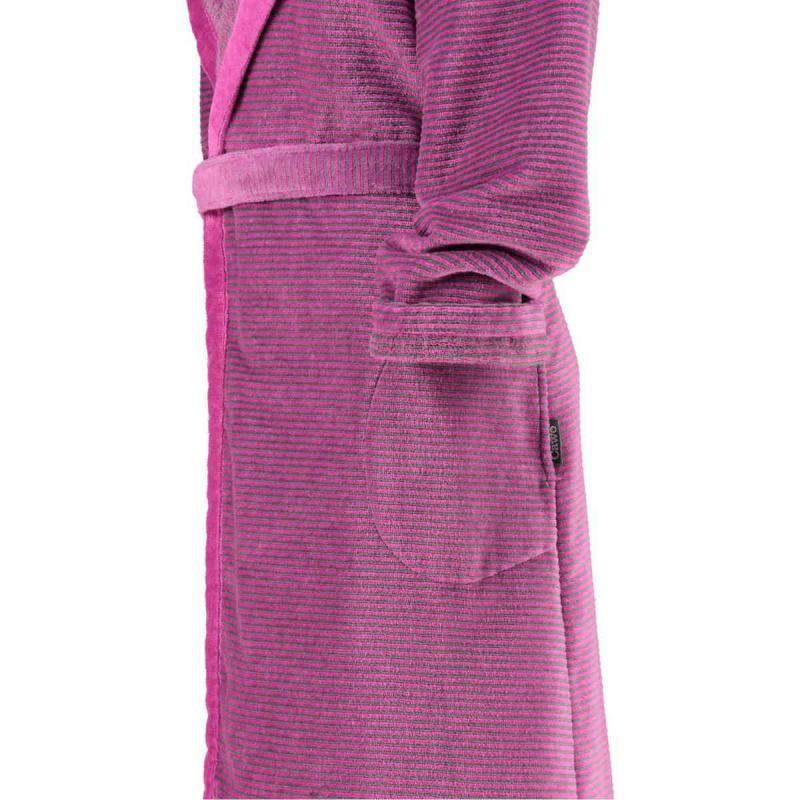 Cawö morgonrock dam lång rosa badrock med huva velour 6425-87
