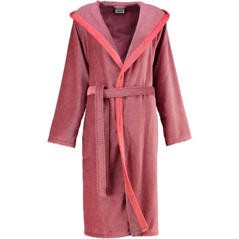 Cawö morgonrock dam lång röd badrock med huva velour 6425-27