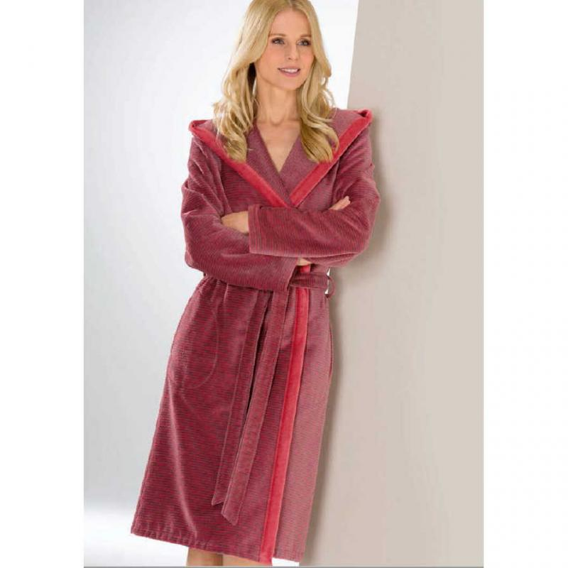 Cawö women's bathrobe long red hooded velour robe 6425-27 online