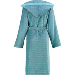 Cawö morgonrock dam lång turkos badrock med huva velour 6425-47