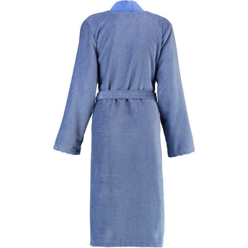 Cawö morgonrock dam lång blå kimono badrock velour 6431-17