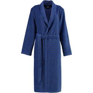 Cawö morgonrock dam lång tunn blå badrock med sjalkrage 4336-11