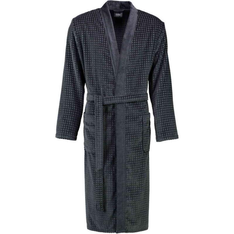 Cawö waffle-pique look long kimono bathrobe 100% cotton Anthracite
