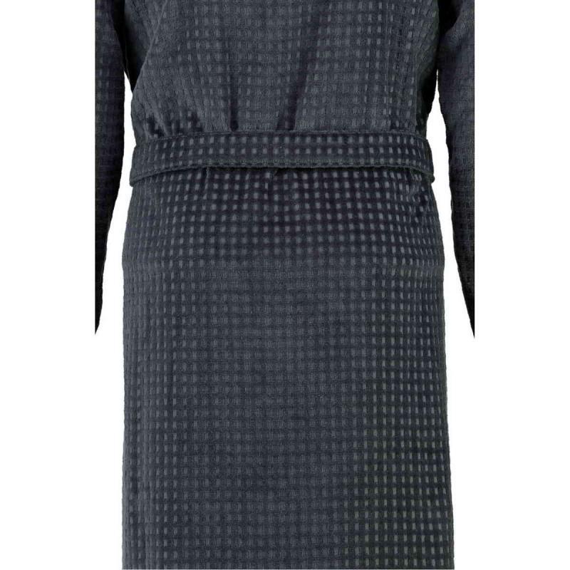 Cawö våfflad lång antracit kimono morgonrock herr pique look 100% bomull