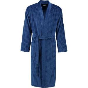 Cawö våfflad lång blå kimono morgonrock herr pique look 100% bomull