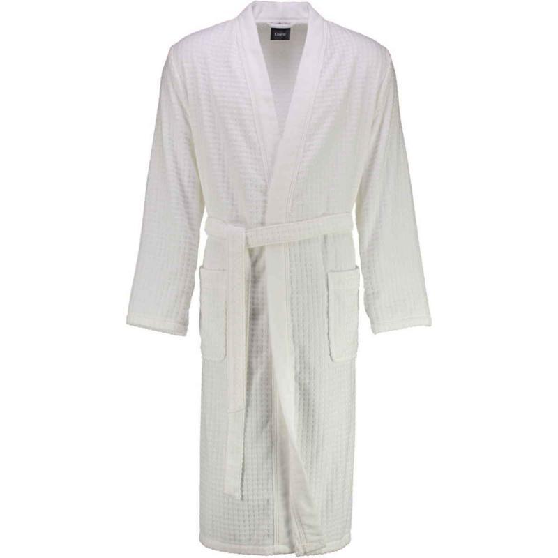 Cawö våfflad lång vit kimono morgonrock herr pique look 100% bomull