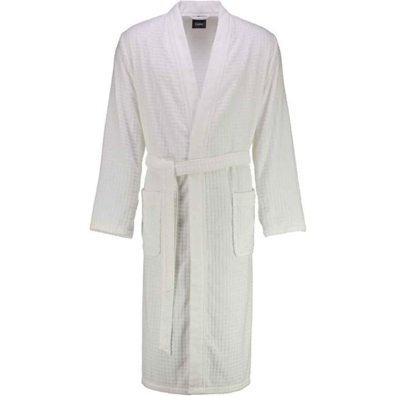 Cawö waffle-pique look white long kimono bathrobe 100% cotton
