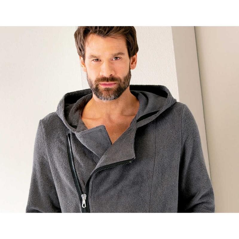 Cawö men's hooded terry bathrobe with diagonal zipper 6516-774