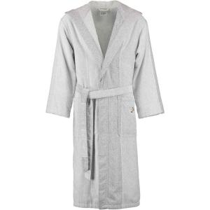 Cawö silvergrå och vit frotté badrock lång unisex modell med huva