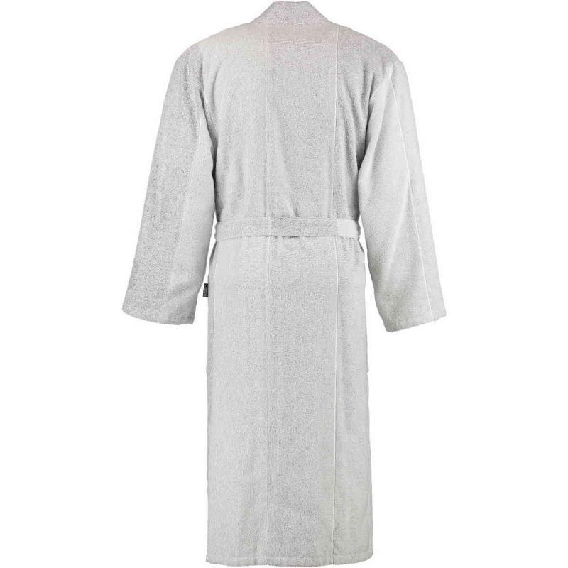 Cawö silvergrå och vit kimono frotté badrock lång unisex modell