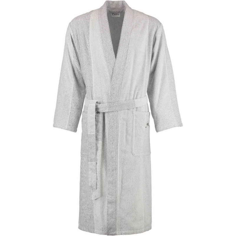Cawö long terry kimono bathrobe silver grey and white unisex model