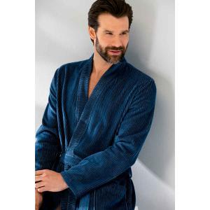 Cawö kimono morgonrock för men i hög velourkvalité av 100% bomull i färgen blå