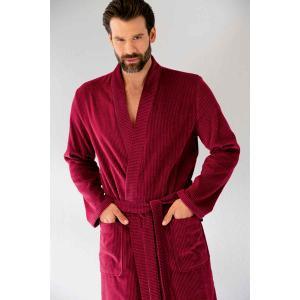Cawö kimono morgonrock för men i hög velourkvalité av 100% bomull i färgen röd