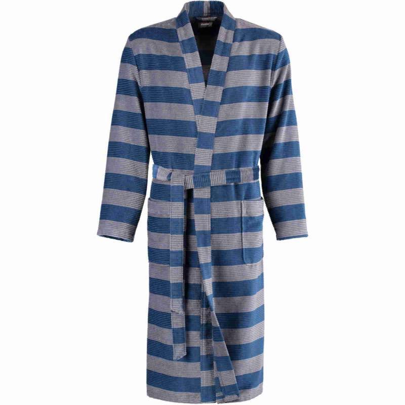 Cawö kimono morgonrock för men i hög velourkvalité av 100% bomull. Blå/grå