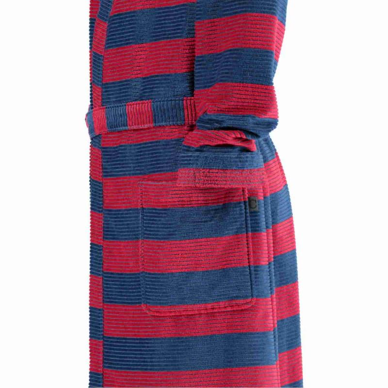 Cawö kimono morgonrock för men i hög velourkvalité av 100% bomull. Blå/röd