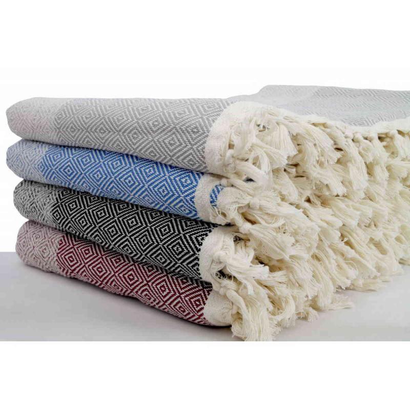 Hand loomed diamond blanket size cotton peshtemal, throw
