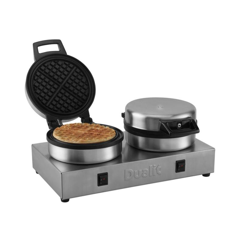 Dualit double waffle iron hand assembled in the UK of stainless steel