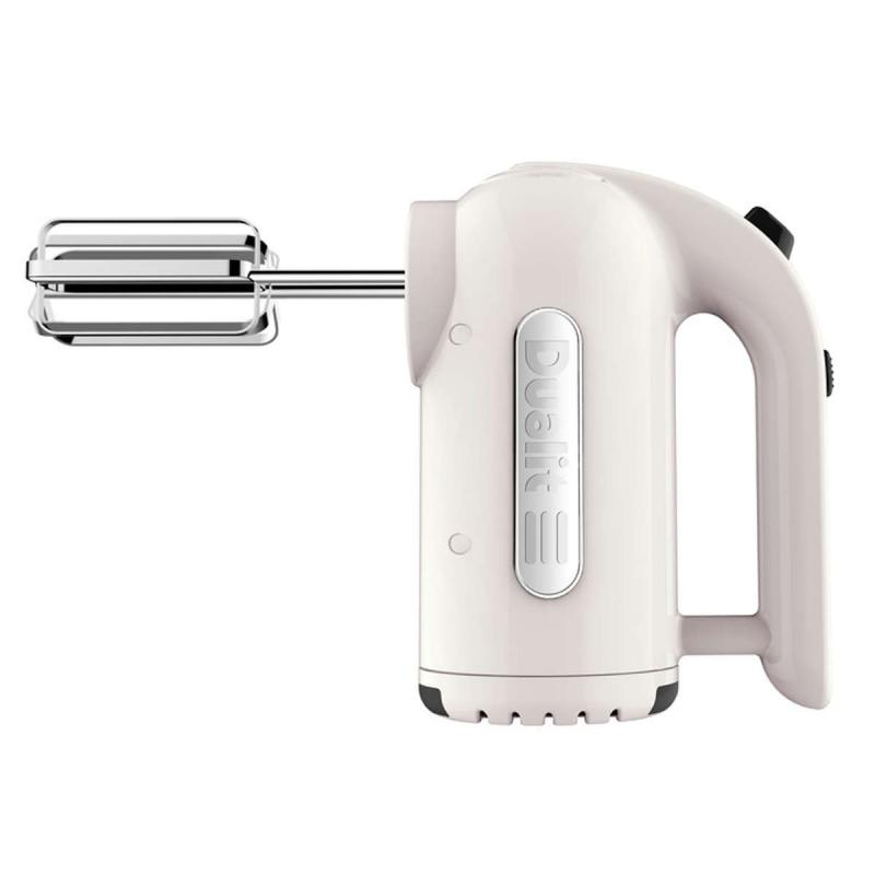 Dualit hand mixer with a 400W motor and four speed settings in the color canvas.