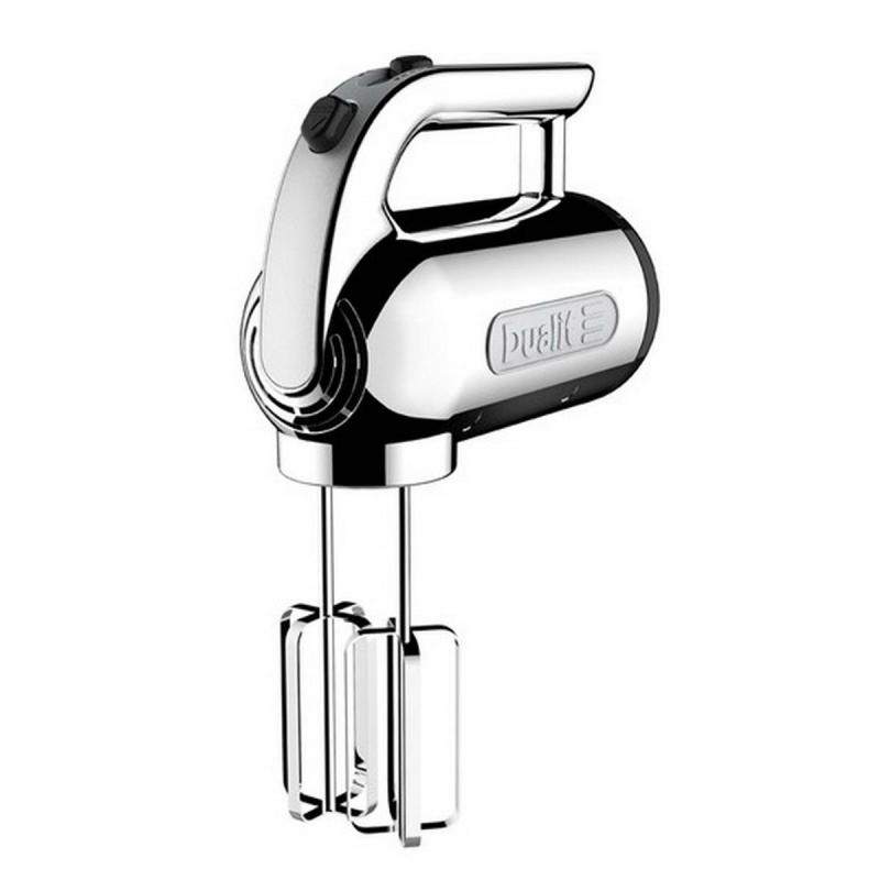 Dualit hand mixer with a 400W motor and four speed settings in the color chrome
