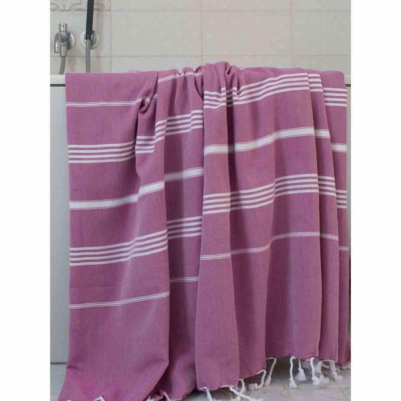 Extra stor hamam handduk De La Mer magenta