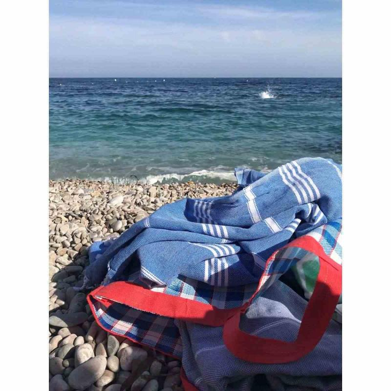 Extra stor hamam handduk De La Mer Mediterranean blue