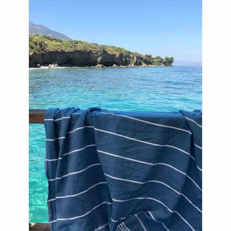 Extra stor hamam handduk De La Mer ocean blue