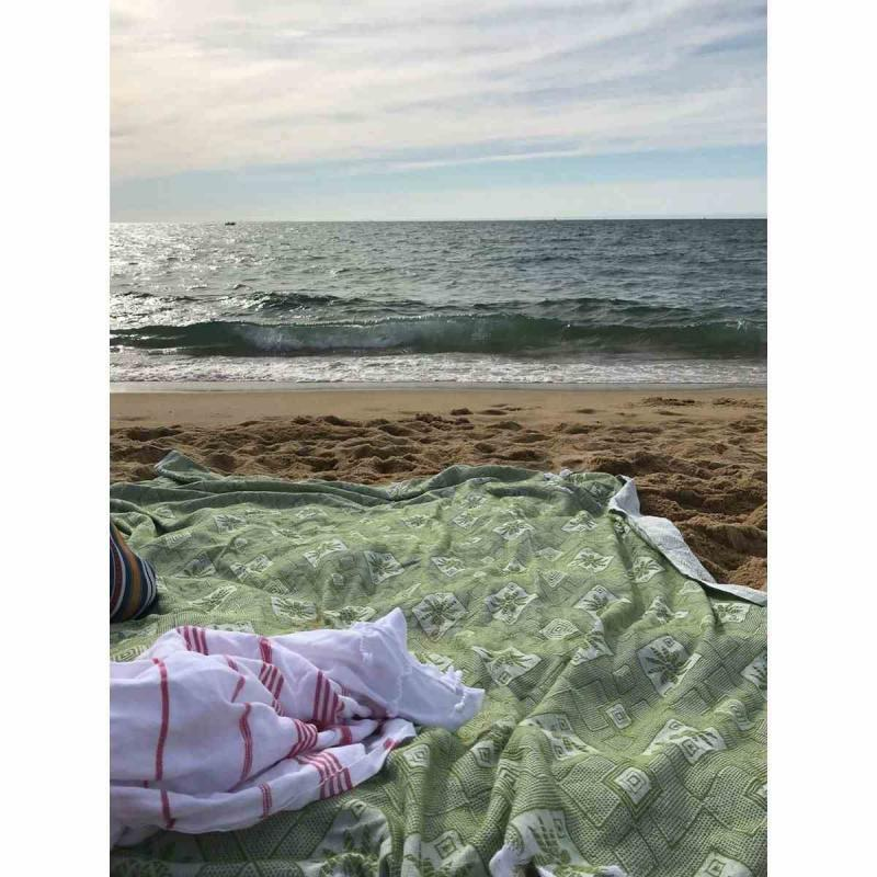 XXL beach blanket / bedspread olive green