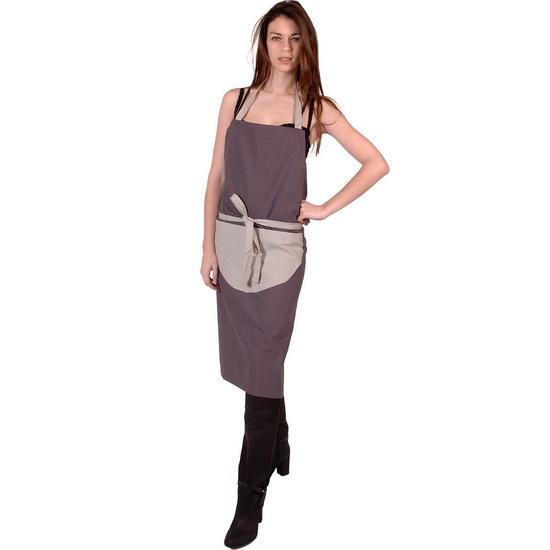 SENSEI Köksförkläde Dam Bicolore Antracit Förkläde för Matlagning