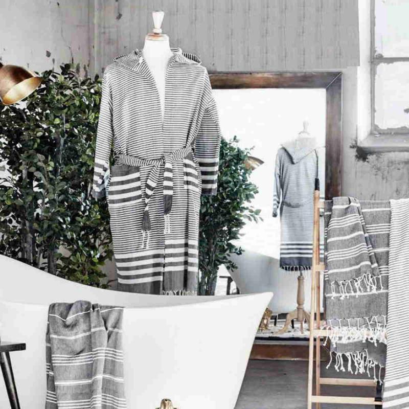 Hammam Bathrobe Grey/White