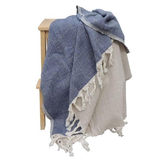d40baacfba Turkish Towel / Throw Scotch Navy Blue - Beige 95x180 cm 100% Cotton 480g