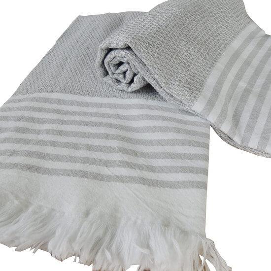 Turkisk Hamam handduk Bilakis Silvergrå 100% bomull 95x175 cm