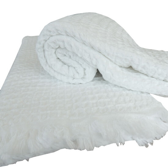 Turkish Towel / Throw Dupduru Waffle White 95x180 cm 100% Cotton 400g