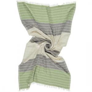 Turkish Towel Feriha Olive green & Charcoal grey 100x180 cm 100% Cotton 250g