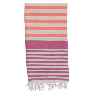 Turkish Towel Coral - Fuschia Travel, beach, Spa Towel with Fringes