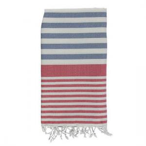 Turkish Towel Denim Blue - Red Travel, beach, Spa Towel with Fringes