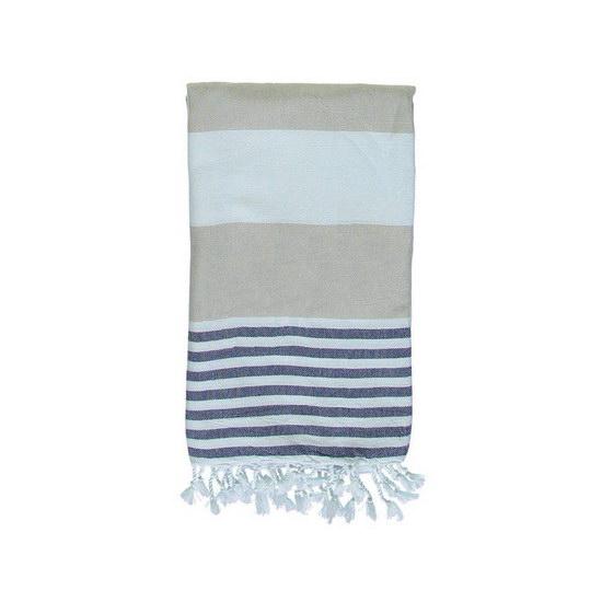 Hamam Handduk Ladon Beige Navy Blue Hamamhandduk Strand Badlakan