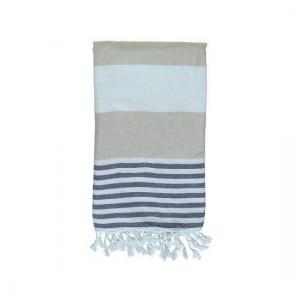 Turkish Towel Ladon Beige Navy Blue Peshtemal Beach Towel Fouta