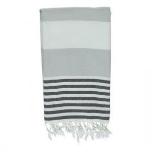 Turkish Towel Ladon Silver Grey Black Peshtemal Beach Towel Fouta