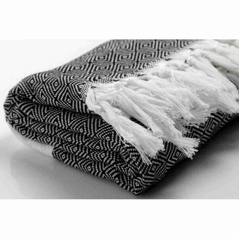 180x90 cm geuine hand loomed Turkish peshtemal of 100% pure cotton black/white 480g
