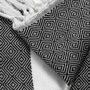 180x90 cm äkta handvävd turkisk hamamhandduk av 100% ren bomull svart/vit 480g