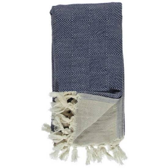 Turkish Towel / Throw Scotch Navy Blue - Beige 95x180 cm 100% Cotton 480g