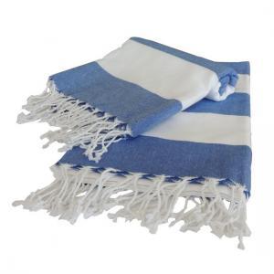 Turkish towel Tenedos Denim Blue Travel, beach, Yoga Towel with Fringes