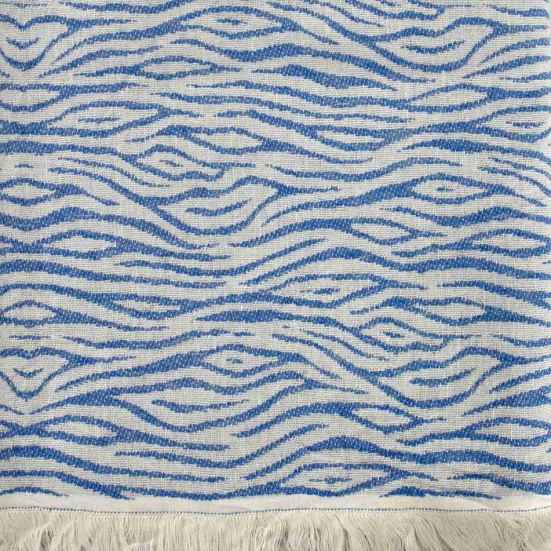 Hamam Handduk Zebra Royal Blue Handvävd Turkisk Badhandduk